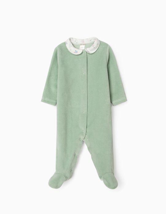 Velour Sleepsuit for Newborn Baby Girls, 'WH', Green