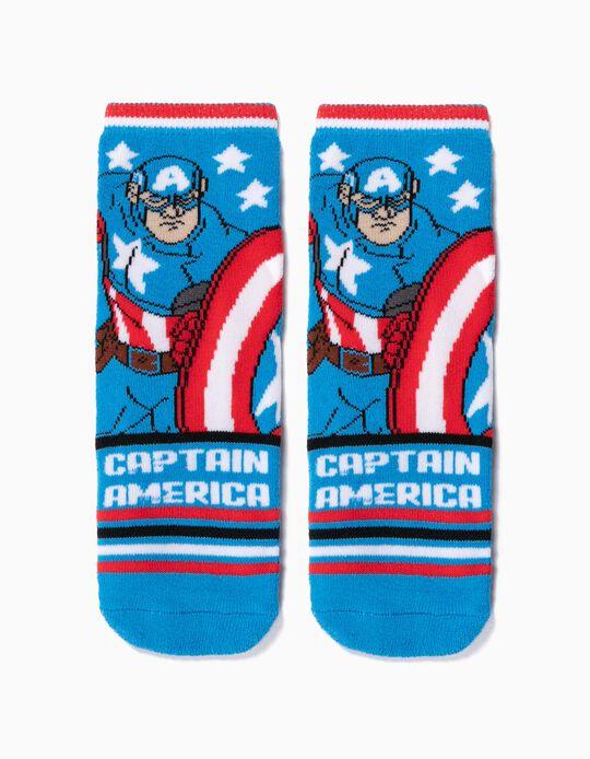 Meias Antiderrapantes para Menino 'Captain America', Azul