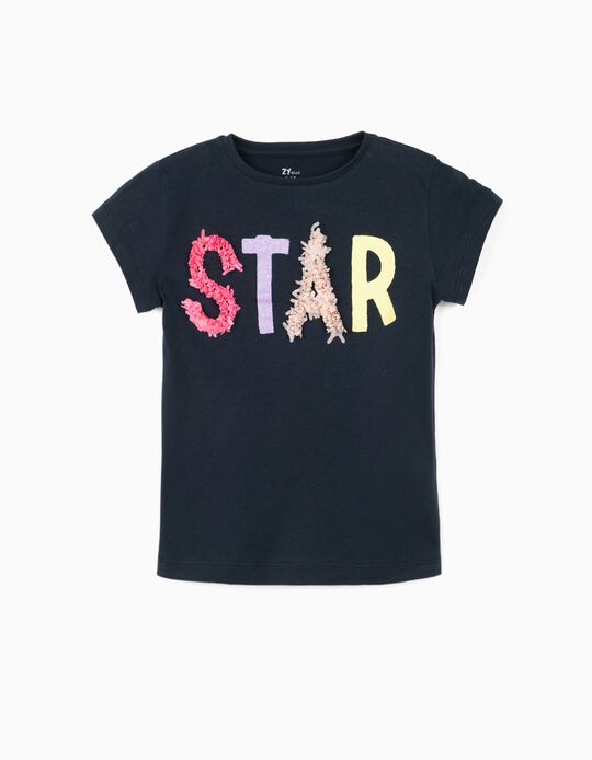 T-Shirt for Girls, 'Star', Dark Blue