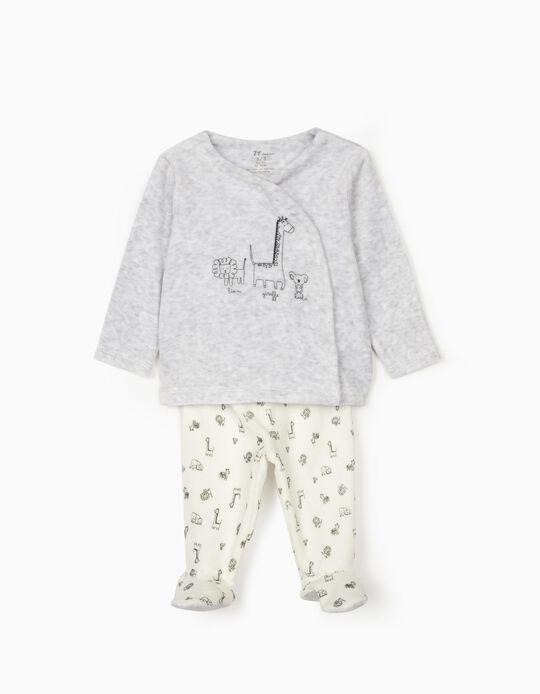Pijama Veludo para Recém-Nascido 'Animals', Cinza/Branco