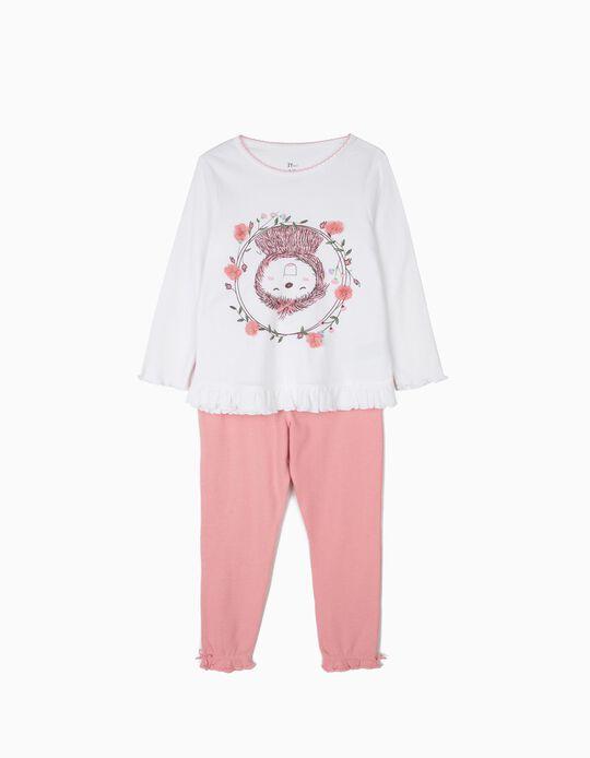 Pijama para Niña 'Flower Sloth', Blanco y Rosa