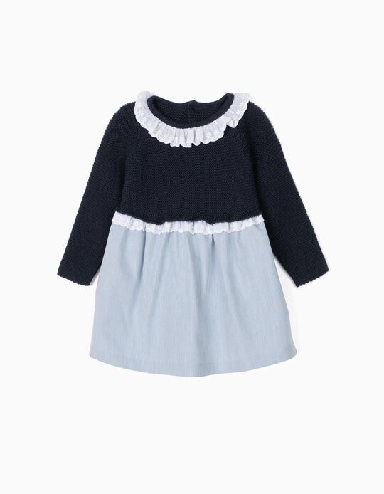 Vestido Combinado para Recém-Nascida, Azul Escuro