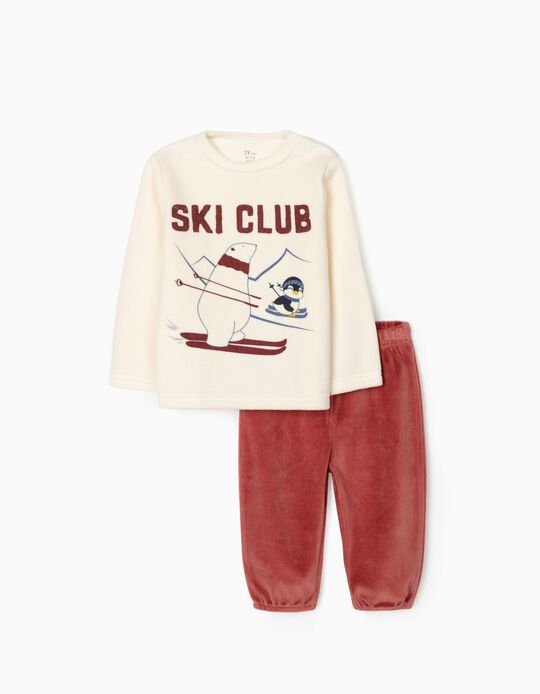 Pijama Veludo para Bebé Menino 'Ski Club', Bege/Bordô