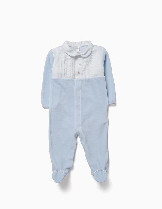 Babygrow Veludo Combinado Azul