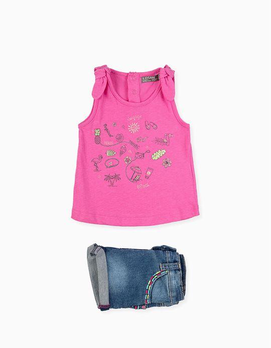 T-shirt e Calções para Bebé Menina LOSAN, Rosa/Azul Denim