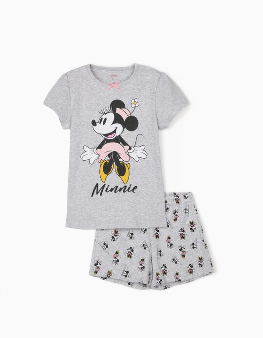 Short Sleeve Pyjamas for Girls, 'Minnie Mouse', Grey