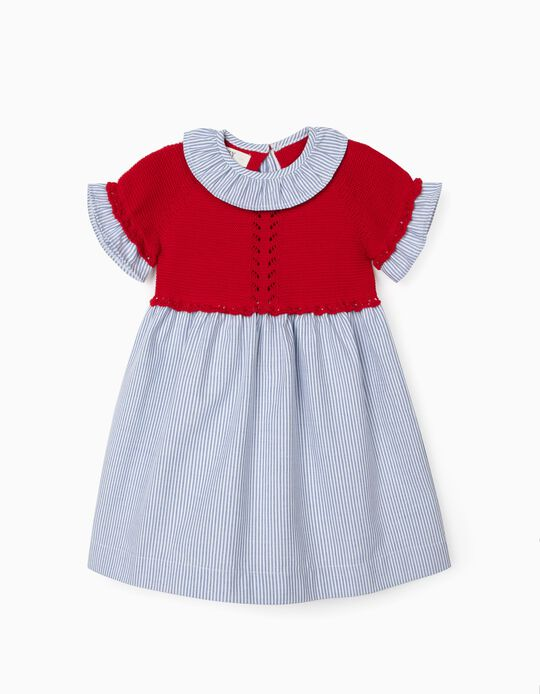 Dual Fabric Dress for Baby Girls, Red/Stripes