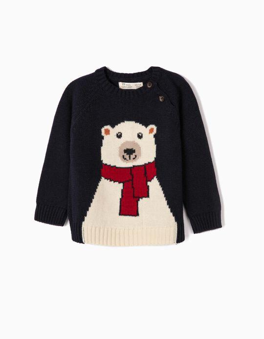 Camisola de Malha para Bebé Menino 'Cute Bear', Azul Escuro