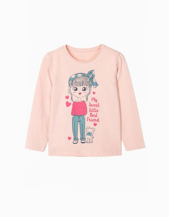 Camiseta de Manga Larga para Niña 'Best Friend', Rosa