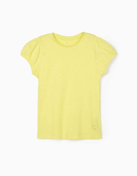 T-Shirt for Girls, 'Heart', Lime Yellow