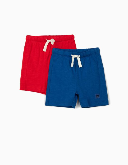 2 Pairs of Shorts for Baby Boys, Red/Blue
