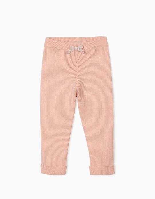 Pantalon en maille côtelée bébé fille, rose