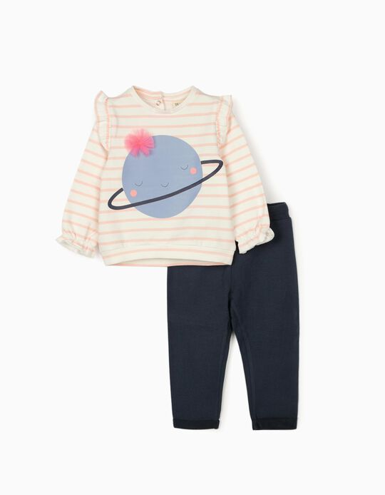Tracksuit for Baby Girls 'Cute Saturn', White/Pink/Dark Blue