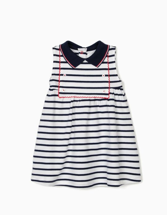 Vestido Piqué para Bebé Niña 'Sailor', Blanco/Azul Oscuro