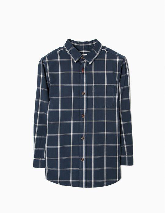 Camisa para Niño a Cuadros, Azul Oscuro