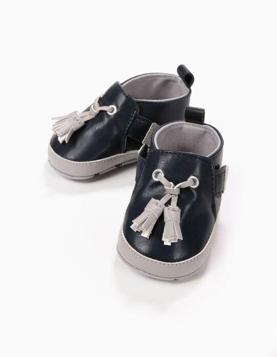 Sapatos Pre-Walker Azuis com Borlas