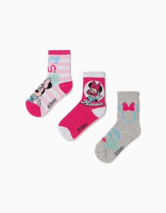 3 Pares de Calcetines para Niña 'Minnie', Blanco/Rosa/Gris