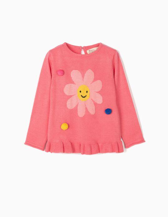 Camisola de Malha para Bebé Menina 'Bear', Rosa