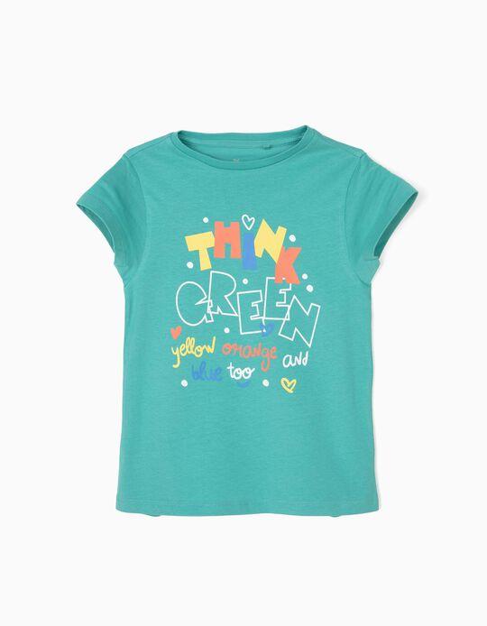 T-shirt para Menina 'Think Green', Azul
