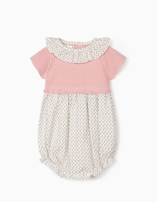 Dual Fabric Jumpsuit for Newborn Baby Girls, Pink/White