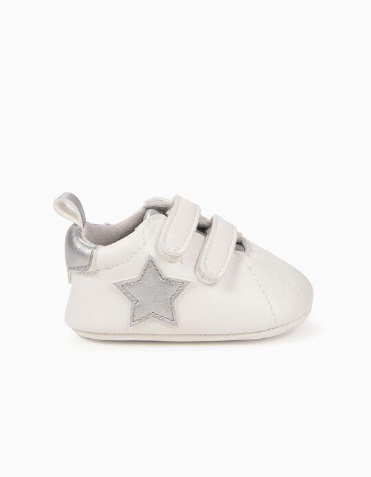 Zapatillas para Recién Nacida 'Estrellas', Blanco y Plateado