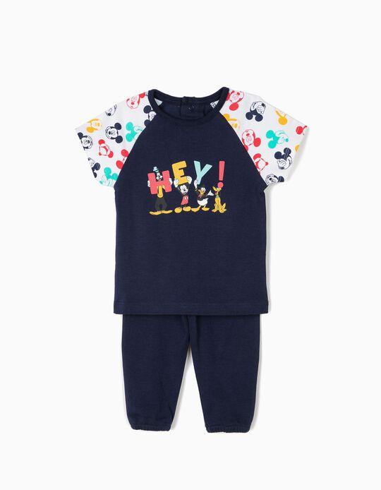 Pijama para Bebé Menino 'Hey! Disney' Manga Curta, Azul e Branco