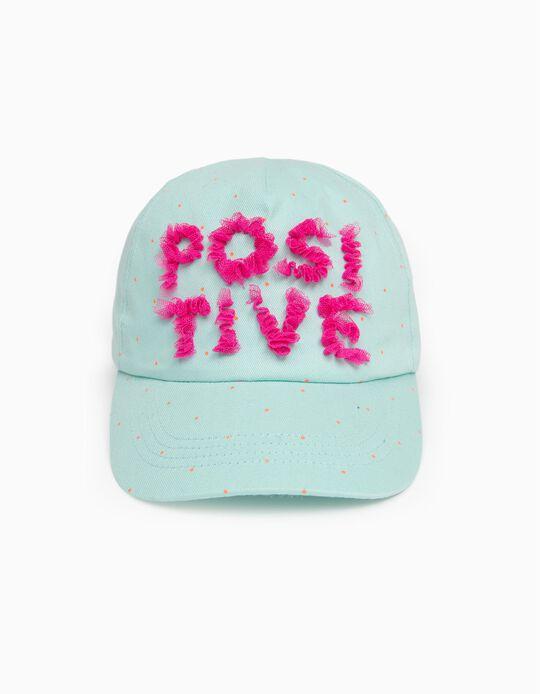 Cap for Girls 'Positive', Aqua Green