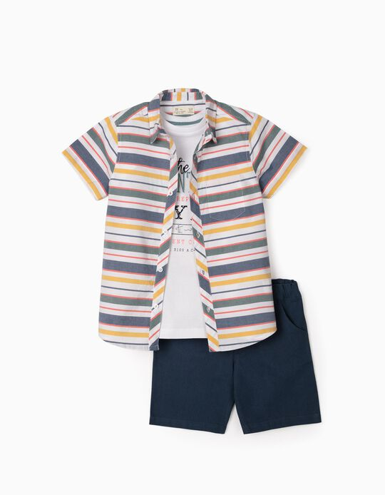 3-Piece Outfit for Boys, Blue/White/Striped