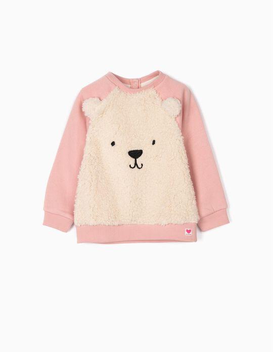 Sweatshirt for Baby Girls 'Teddy Bear', Pink