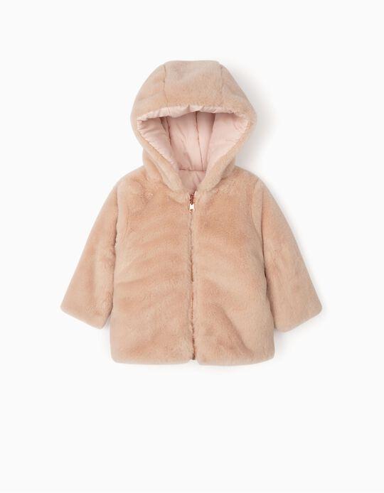 Reversible Hooded Jacket for Newborn Girls, Light Pink