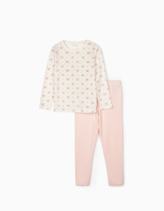 Pyjama fille 'Cute Leopard', blanc/rose