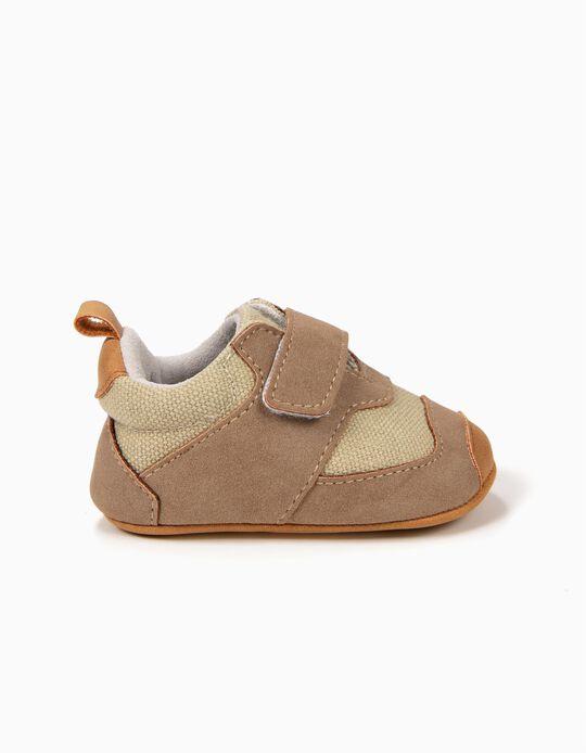 Zapatos para Recién Nacido con Cierre Autoadherente, Marrón
