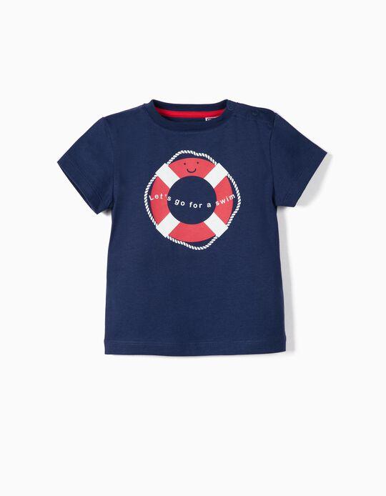 T-shirt para Bebé Menino 'Swim' Anti-UV 30, Azul Escuro