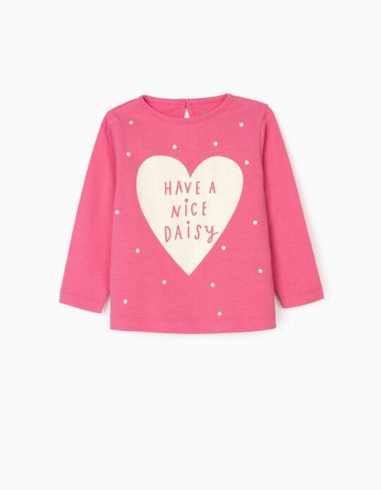 T-shirt Manga Comprida para Bebé Menina 'Nice Daisy', Rosa