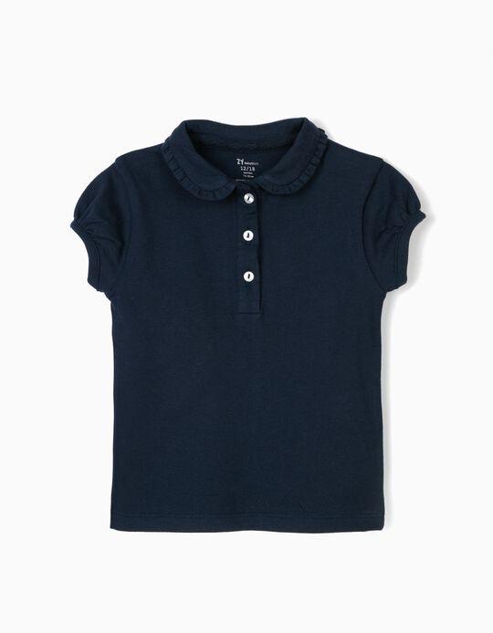 Polo para Bebé Menina, Azul Escuro