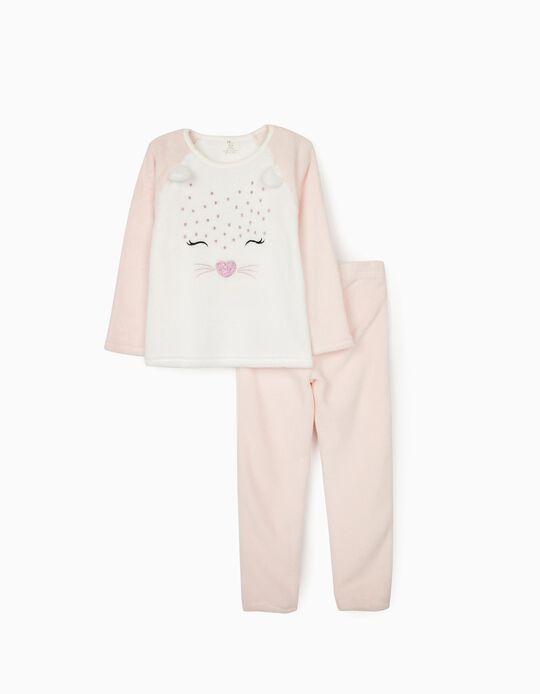 Pijama Coralina para Menina 'Cute Leopard', Branco/Rosa