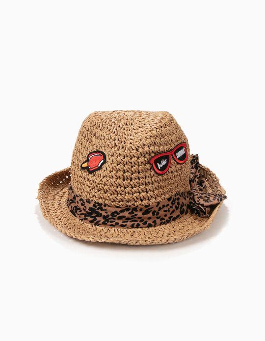 Sombrero de Paja para Niña con Aplicaciones, Camel