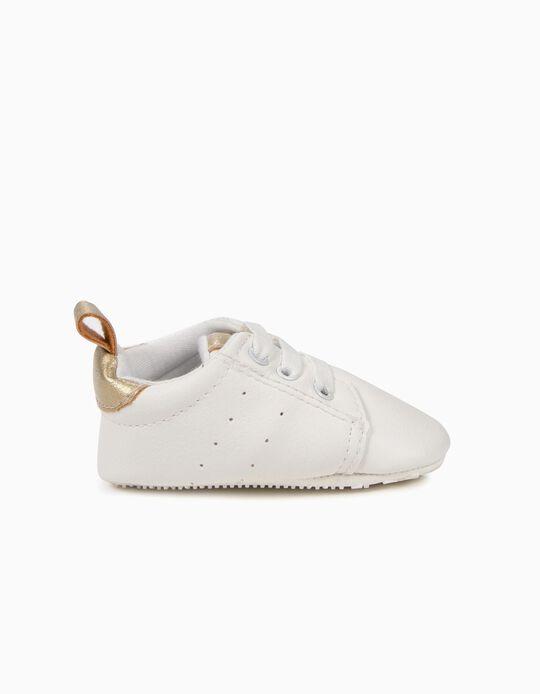 Zapatillas para Recién Nacida con Elásticos, Blanco y Dorado