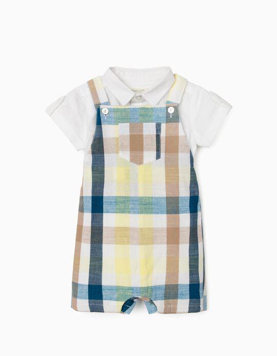 Jumpsuit & Shirt Bodysuit for Newborn Baby Boys, 'B&S', Chequered/White