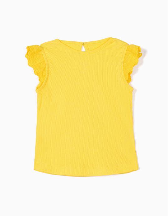 Top Canelado para Bebé Menina com Folhos, Amarelo