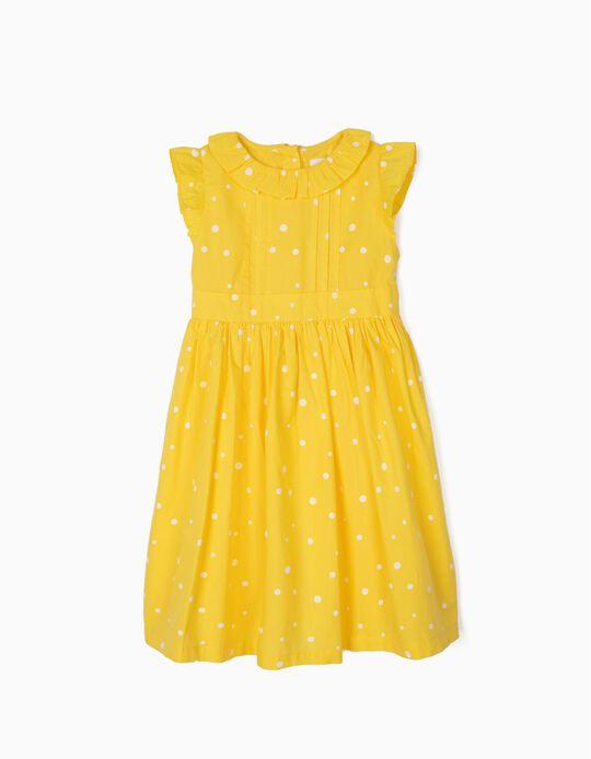 Vestido para Niña con Lunares, Amarillo