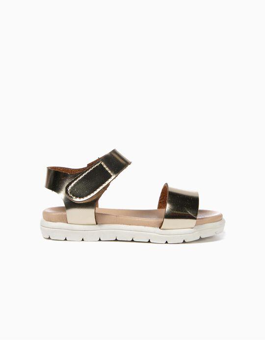 Sandálias Verniz para Bebé Menina com Velcro, Dourado