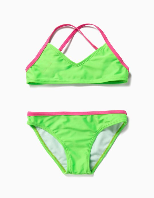 Bikini para Niña Bicolor, Verde y Rosa