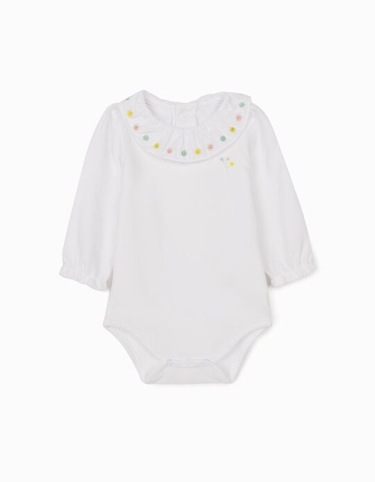 Bodysuit for Newborn Baby Girls, 'Flowers' White