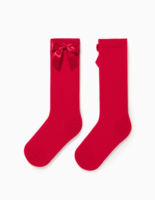 Knee-High Socks for Girls, Red