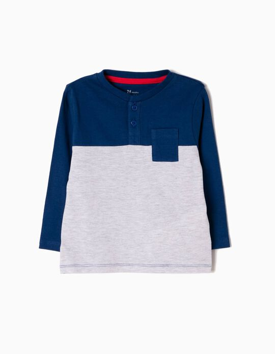 Camiseta de Manga Larga Azul y Gris