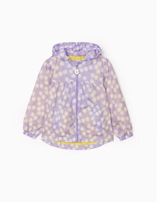 Hooded Parka for Girls  'Flowers' , Purple