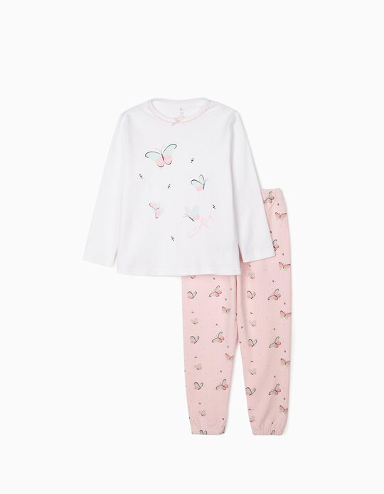 Pyjamas for Girls, 'Butterfly', White/Pink