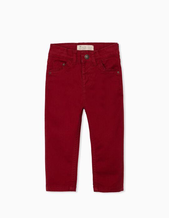 Calças de Sarja para Bebé Menino, Vermelho Escuro