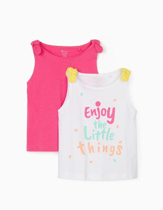 2 Tops para Bebé Menina 'Enjoy', Branco/Rosa
